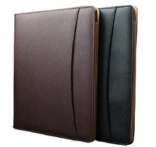 black multifunctional PU leather notepad a4 clip file notepad holder cover for document business travel documents case