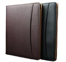 أسود متعدد الوظائف بولي leather الجلود المفكرة a4 كليب ملف المفكرة حامل غطاء ل وثيقة الأعمال وثائق السفر حافظة