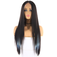 Yaki Straight Synthetic Hair Wigs With Natural Hairline X TRESS Ombre Blue Purple Color Long Layered Lace Wig For Black Women