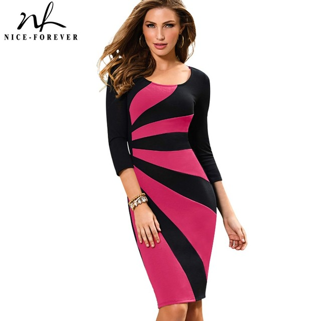 Nice-forever Vintage Stylish Pink Patchwork 3/4 Sleeve O-Neck Tunic Bodycon Wear to Work Office Casual Pencil Women Dress B390
