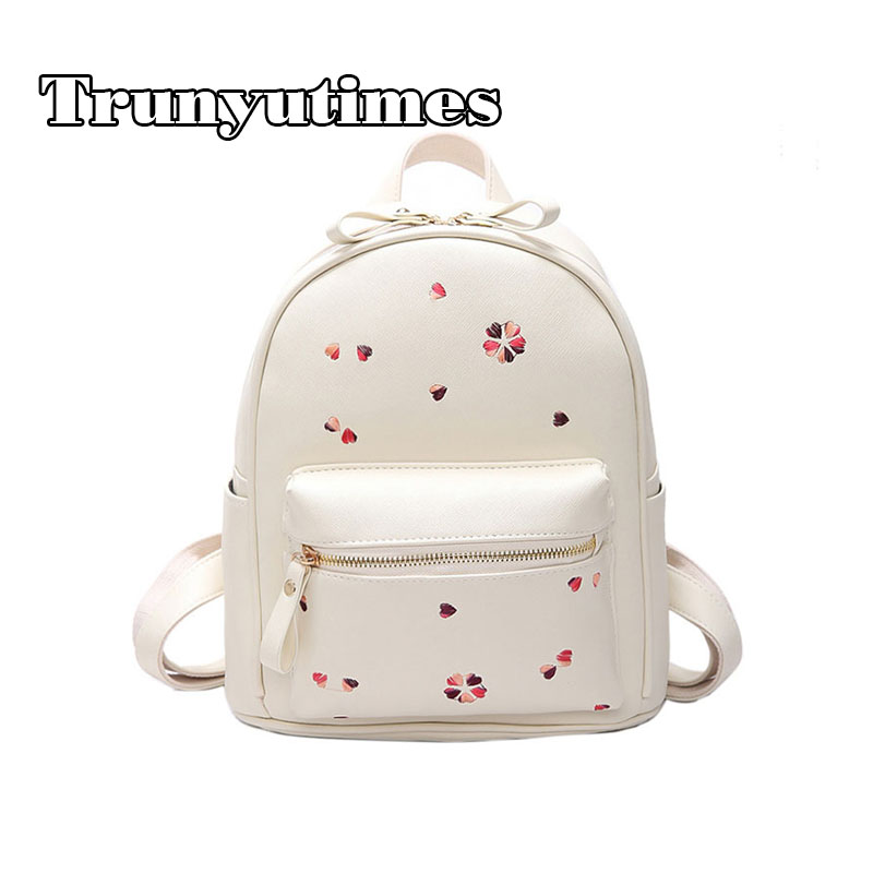 2017 New Women Backpack for School Cute Mini Flower Printing PU Leather Backpacks for Teenage Girls Casual Travel Bag Pink Bag
