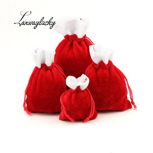 10x14cm Christmas Party Favors Fashion Packaging Bags Wedding Candy Cookies Velvet Drawstring Gifts Pouches White Red Bag Pouch