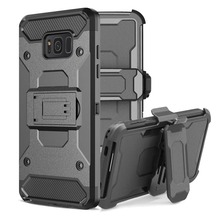 LANCASE Armor Cover Coque For Samsung Galaxy S8 Case Shockproof Hard Stand Holder Full Body Belt Clip Case For S8 S9 Plus Shell