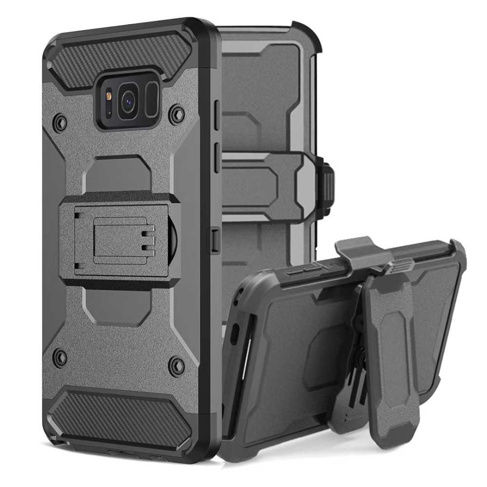LANCASE Armour Cover Coque Samsung Galaxy S8 Case Shockproof Hard Stand Holder Ամբողջ մարմնի գոտիով խցիկի պատյան S8 S9 Plus Shell- ի համար