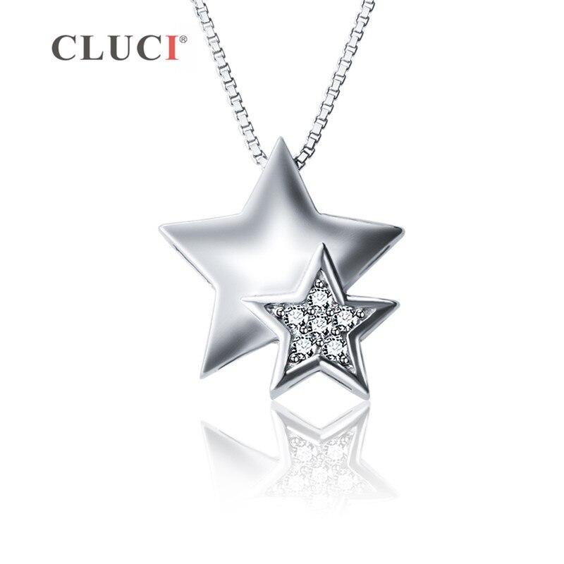100% Wahr Cluci Silber 925 Sternförmigen Anhänger Zirkon Edelstein Frauen Halskette Schmuck 925 Sterling Silber Anhänger Halskette