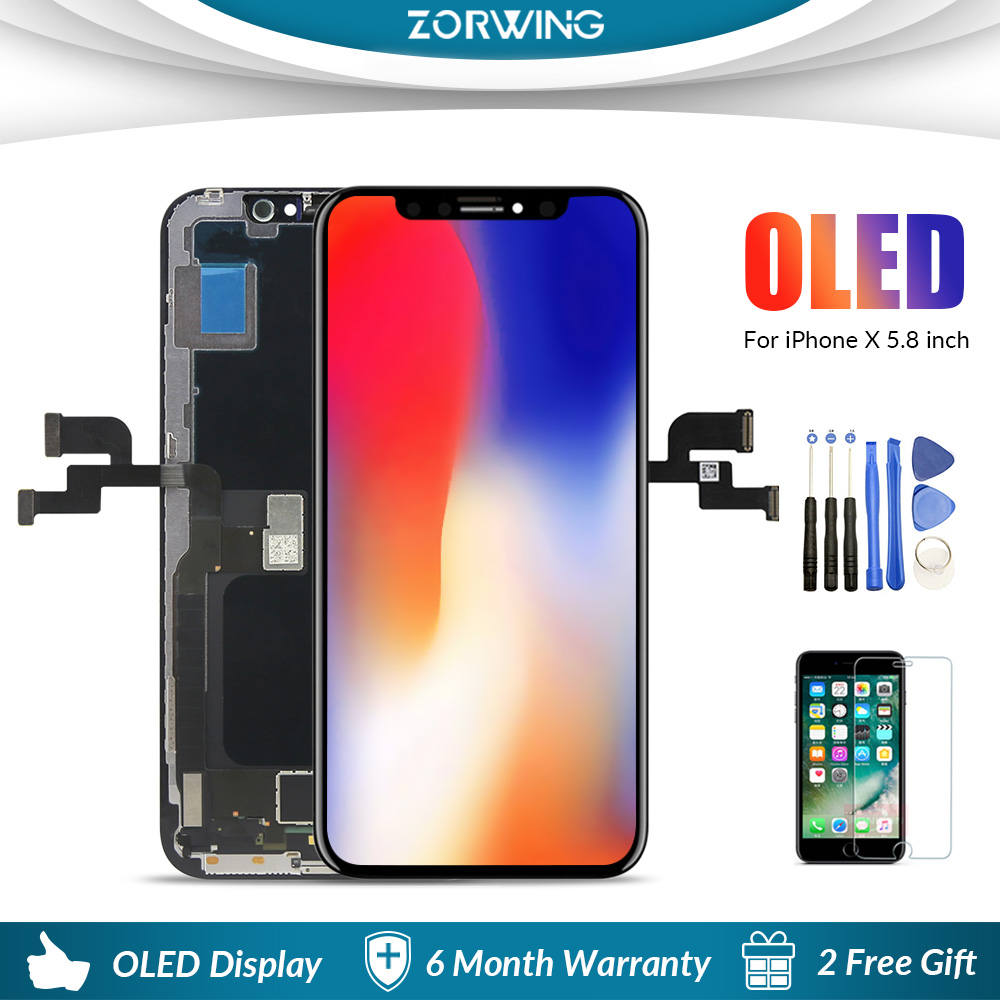 Grade AAA 5.8 pollice Schermo OLED Per il iphone X Display LCD Touch Screen Digitizer di Ricambio Per iPhone X LCD Pantalla montaggio