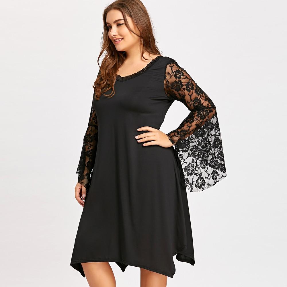 ab6027e8c9323 Romacci Elegant Flare Sleeve Lace Dress Female O Neck Sexy Loose Plus Size  Asymmetric Dress Women Club Party Black Dress 2019-in Dresses from Women s  ...