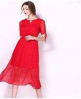 Darmowa wysyłka fashion design wysokiej quanlity 100% Jedwabiu wokół szyi pół łuk rękawy kobiety szyfonowa długa dress z pół dzianiny podszewka