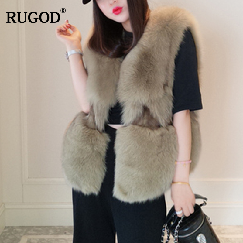 RUGOD New Snow Wear Female Fox Fur Coat Sleeveless O-Neck Covered Button Slim Thick Warm Fur Office Lady Short Coat For Women