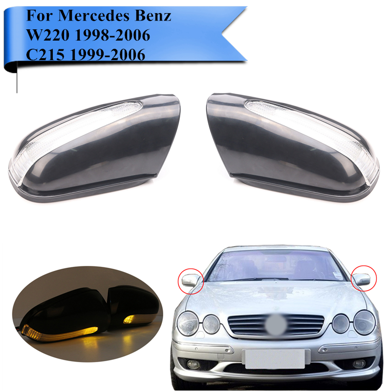 Door Mirror Cover Cap + LED Turn Signal Light Marker Blinker For Mercedes Benz W220 C215 S350 S400 S500 S600 CL500 S63 AMG #N006 1 pair for 92 02 mercedes w220 s320 s430 s500 w215 led mirror turn signal light smoke