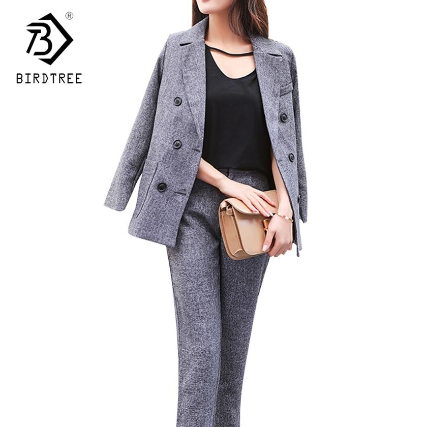 2018 New Women 2 Piece Set Female Gray Blazer Long Pants Suit Office Lady Business Wear