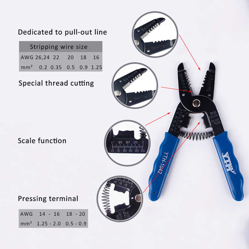 Crimper Cable Cutter Automatic Wire Stripper Multifunctional Stripping Tools Spring Disassembly Crimping Pliers 0.2-1.25mm Blue
