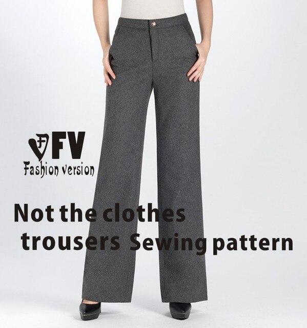 Pantalones anchos de la pierna Pantalones de patrón de costura del ...
