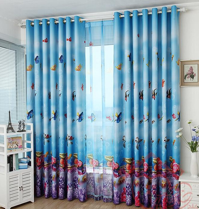 Cartoon Sailing Ship Design Shading Curtain Blackout: The Undersea World Children Boy Cute Cartoon Curtain Full