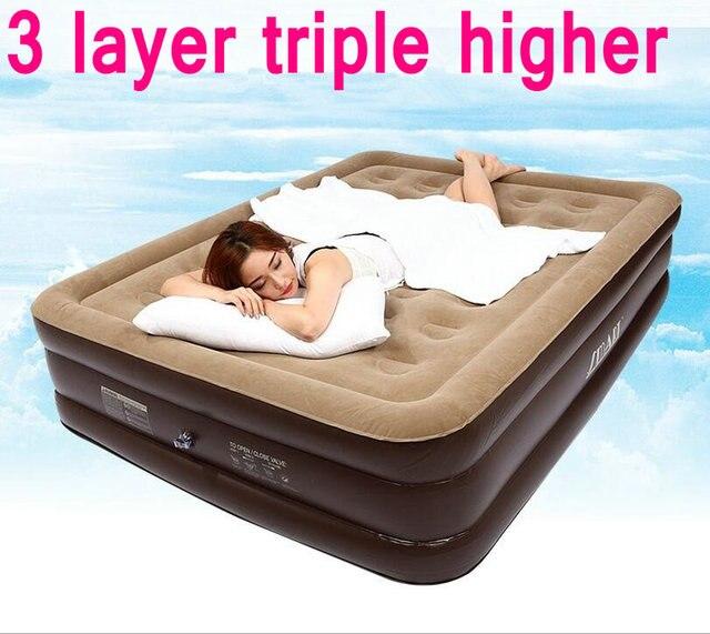 US $168.0  Deluxe double deck letto gonfiabile materasso matrimoniale letto  singolo posti letto materassi gonfiabili più spessa mattina in Deluxe ...