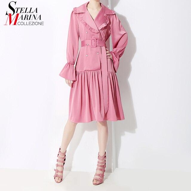 Nuovo 2018 Coreano Delle Donne di Stile del Vestito di Inverno Con La  Cinghia Solido Rosa Nero Intaglio Manica Lunga Donna Elegante Vestito Da  Partito Abiti ... bacff9bd8ce