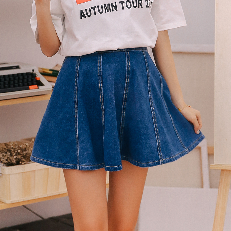 ba27e889349 Mini High Waist Denim Skirt Woman 2018 Summer Blue Sky Blue And White Jeans  Skirts For Women Korean Style Fashion Ladies Saias-in Skirts from Women s  ...