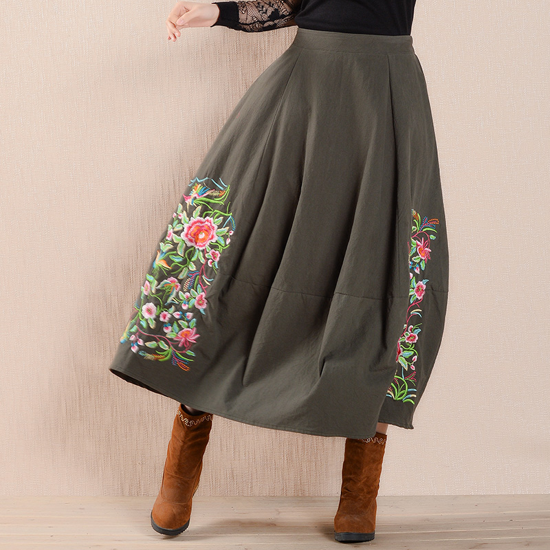 ab296ab352a2fd Vintage Cotton Linen Long Skirts Womens Embroidery A Line Midi Skirt  Chinese Style Casual Loose Big