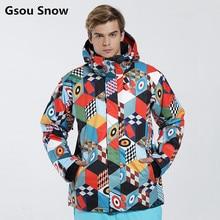 Gsou snow brand invierno traje de esquí chaqueta de snowboard de esquí hombres chaqueta esqui hombre veste homme de esquí térmicas impermeables jas heren