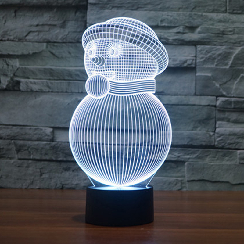 Christmas Lights 3D Night Light Snowman with Scarf Hat Design Cute New Year Gift for Children Kids Christmas Light indoor snowman 3d print kangaroo pocket christmas hoodie
