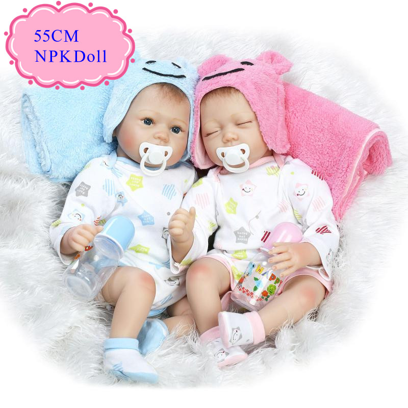 Realistic 55cm 22inch Reborn Doll Toys NPK Brand Soft Vinyl Bebe Reborn Doll Babies 100% Safe Material Non- toxic Best Brinquedo 8004 12 in 1 kid s bathing non toxic vinyl squeaky toys set multicolored