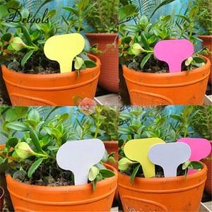 Image 5 - 100pcs pack אקראי צבע פלסטיק צמח תוויות זרעי פוט דה מרקר משתלת גן תגיות Stake חמוד גן תוויות GT019