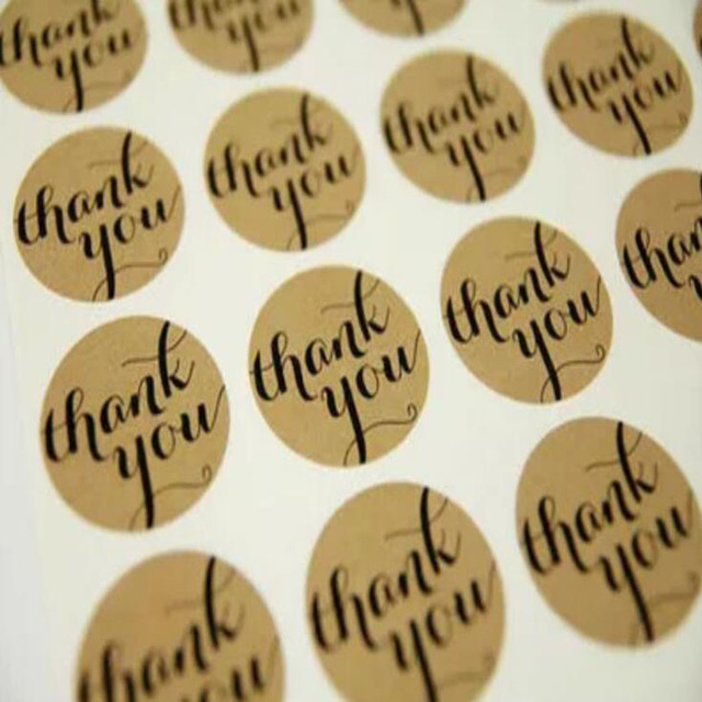 120 Pcs/set Cute Creative Thank You Brown Craft Paper Packaging Seals Kraft Sticker Sealing Labels Party Decorations