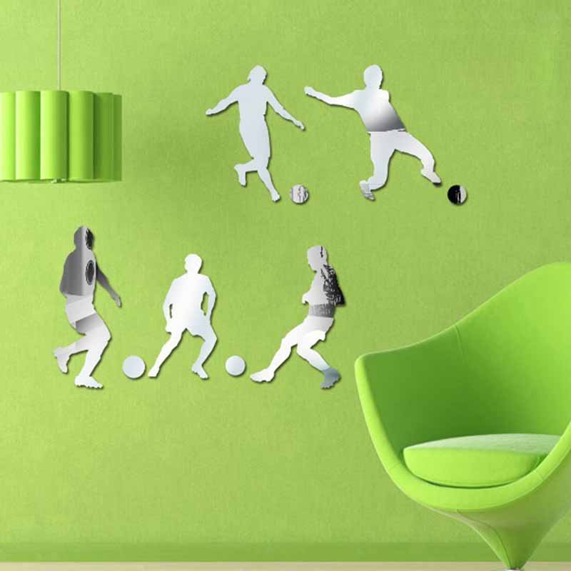 Footballer Effort Mirror Wall Stickers Childrens Bedroom Living Room Kids Wall Stickers Quotes Background Sticker Wall ...