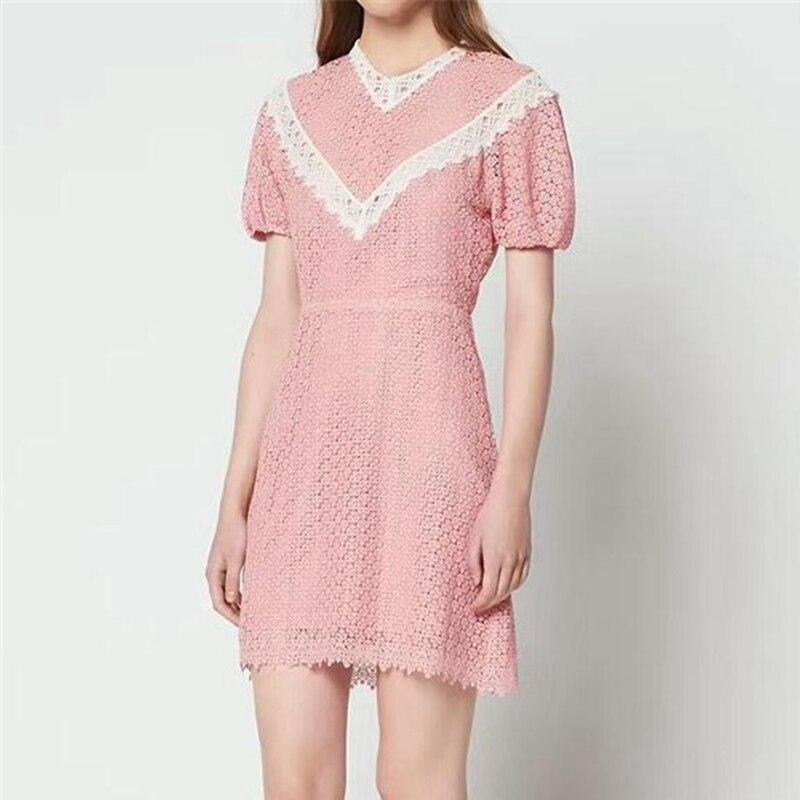 Розовая Женская одежда 2018 взлетно-посадочной полосы кружева платья