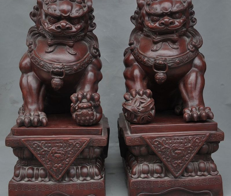 Old Chinese Fengshui Zisha Pottery Carved Guardian Foo Dog Door Lion Statue Pair