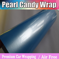 Blue Pearlescent Glossy Candy Vinyl Wrap With Air Free Shell Gloss Pearl Cast Vehicle Wrapping Film