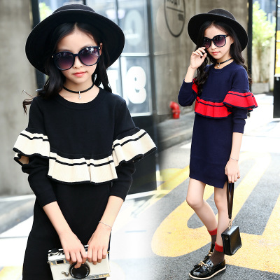 winter round neck girls sweater teenagers 10 11 12 9 years old girls clothing ruffles baby girl clothes knitting jacket children turtle neck vertical knitting stretchy sweater