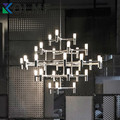 NEMO Crown Nordic Postmodern Lighting Black/white/Chrome/Gold 30 Heads 5 Layers Aluminum Candle Pendant Light