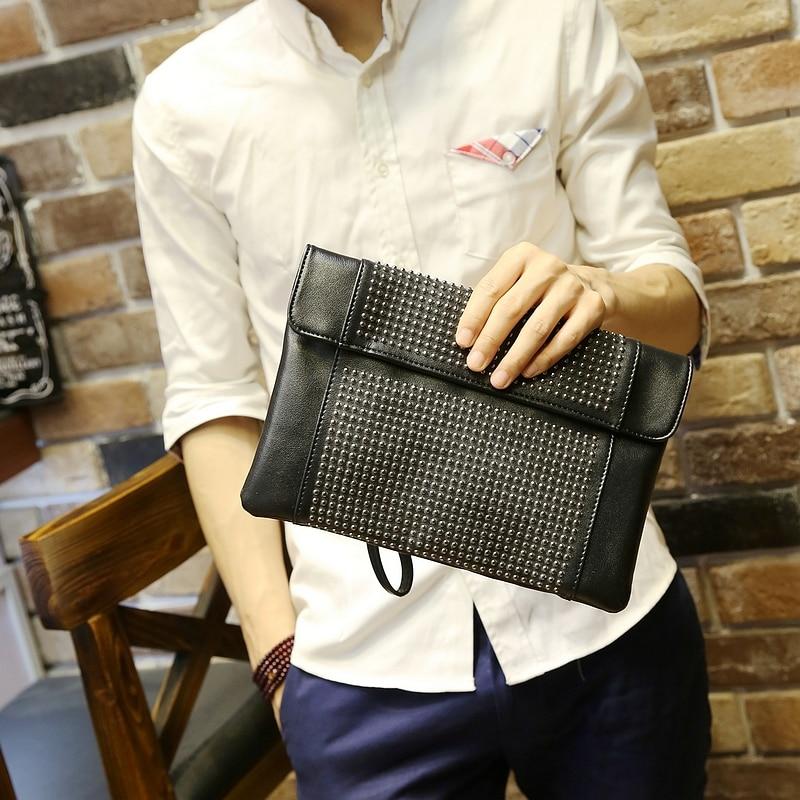 Aliexpress.com : Buy Black PU leather men envelope clutch bag ...