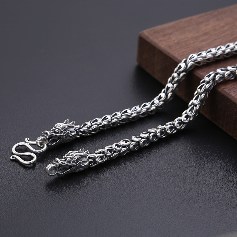 2019 New 6mm Thick Initial Name Necklace 100% 925 Sterling Silver Men Dragon scale chain fashion Necklace Pendant Long Jewelry