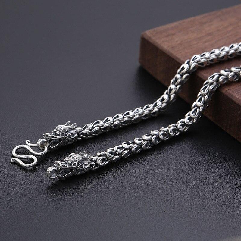 2019 nouveau collier de nom Initial de 6mm d'épaisseur 100% 925 argent Sterling hommes chaîne échelle de Dragon collier de mode pendentif Long bijoux