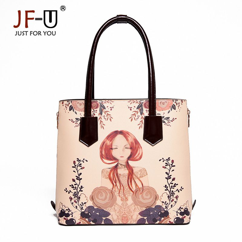 ФОТО JF-U Famous Brands Handbags Bags Cartoon Printed Genuine Leather Bag Female Big Handbags Women Bag Ladies Hand Bags Sac A Main