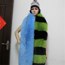 Celebrity runway style women's long fur scarf, Brand design whole skin natural fox fur striped scarves with tail female pashmina