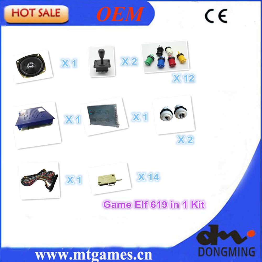 Jamma Arcade game kits,Game Elf 619 in 1 , power supply, American joystick, America button, 1P2P button jamma wire, democracy in america nce
