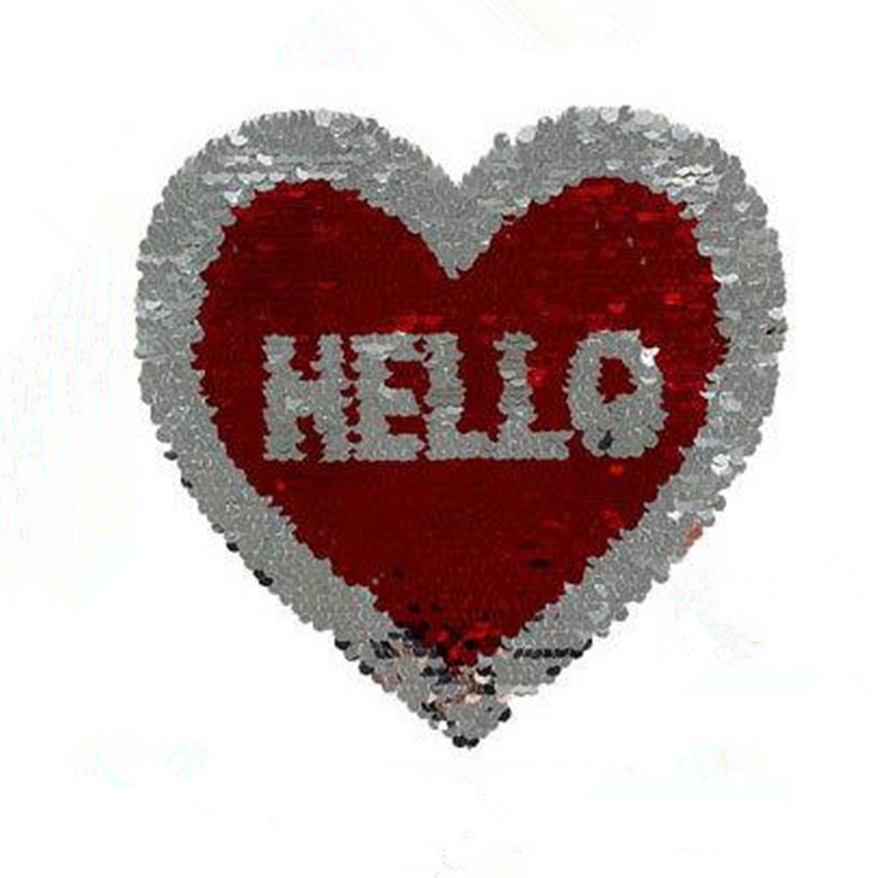 T shirt Women 21cm heart hello red patch flip the double sided sequins deal with it