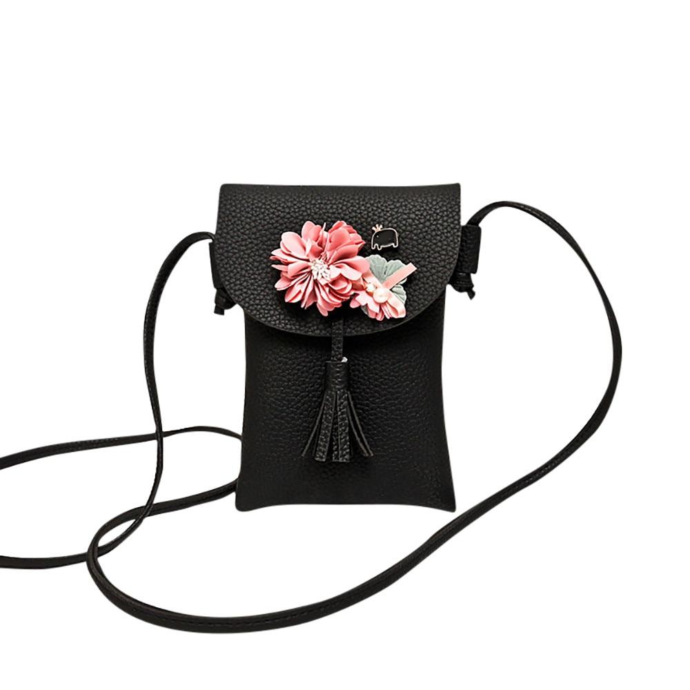 xiniu Women Applique Floral Mini Handbag Phone Bag Shoulder Bag Messenger Bag Purse Leather Floral Fashion Shoulder Bag Hasp