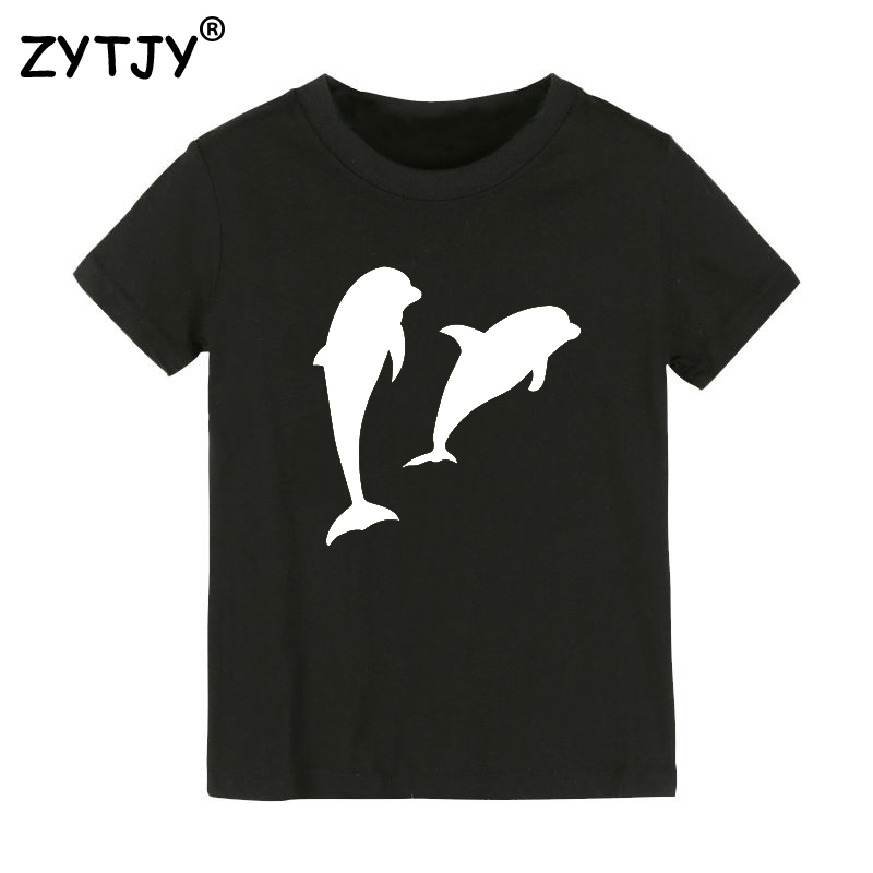 7e82d177 US $4.96 33% OFF|Double Dolphin Letters Print Kids tshirt Boy Girl t shirt  For Children Toddler Clothes Funny Top Tees Drop Ship Y 18-in T-Shirts from  ...