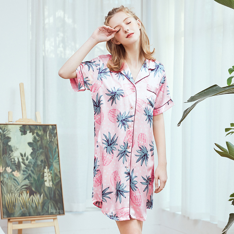 New Hot Sale Summer Sleepwear Nightgown Women Silky Short Sleeves Sexy Nightdress Casual Night Shirt Print Homewear