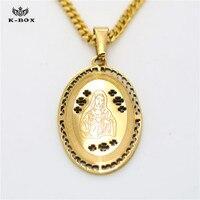 316L Paslanmaz Çelik erkek kadın Altın Katolik Oval kolye Tanrı Bizim Lady Anne Kolye Dini Takı