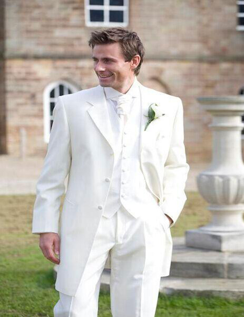 2016 white tuxedos for men ivory 3 pieces wedding for men for Mens ivory dress shirt wedding