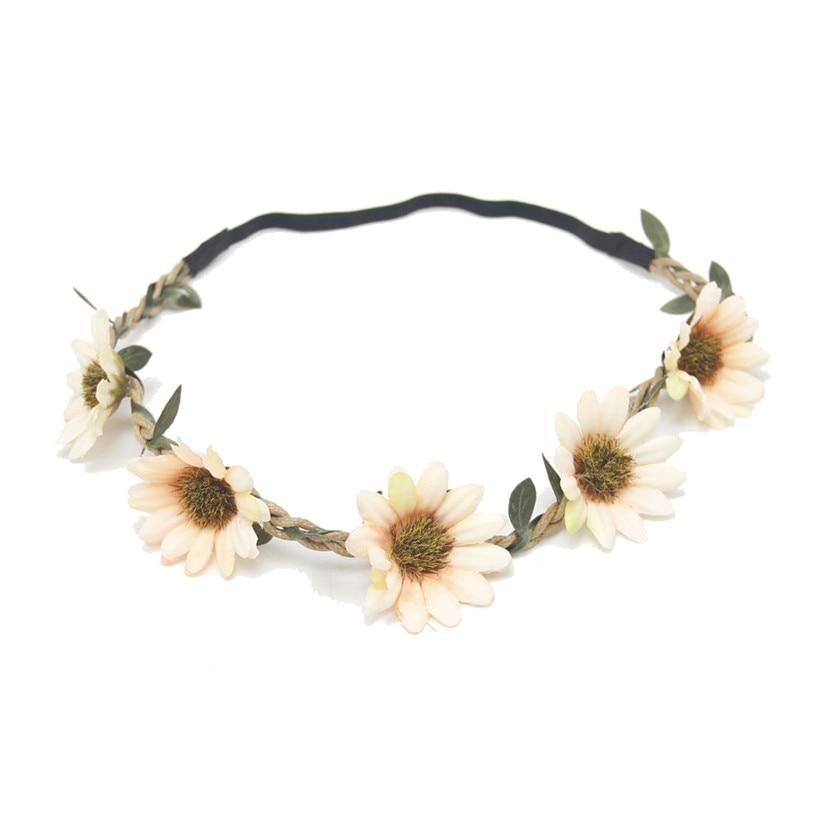 Women Boho Sunflower Garland Floral Crown Hairband Headband Beach Party Wedding 2017 Hot discount beauty