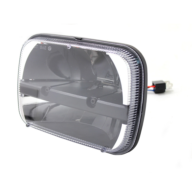 Pair 7x6'' inch led headlights Rectangular LED 5 X 7 Headlamp High/ Low Beam for Ford GM Van Jeep XJ YJ Headlight