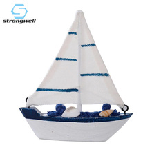 Strongwell Solid Wood Sailboat Small Ornaments Sailing Model Crafts Mediterranean Style Ins Shooting