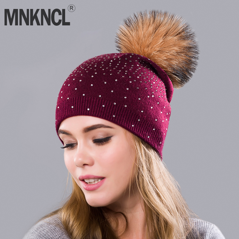 MNKNCL Rhinestones Double Layer Thick Warm Rabbit velvet Knitting Caps Mink   Skullies     Beanies   Winter Hat Women Hats