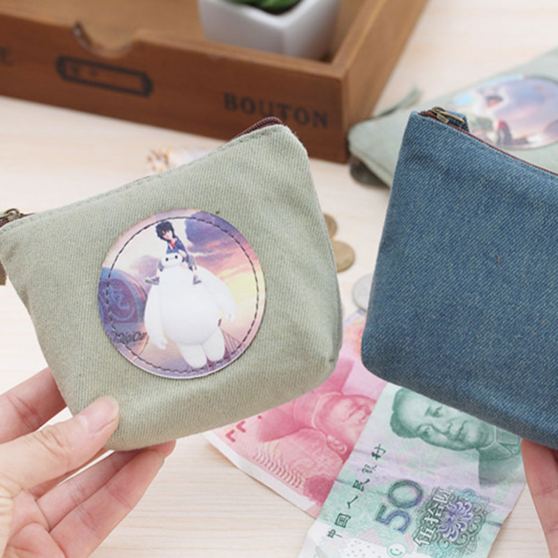 Cartoon Big white canvas zipper Kids Wallet Kawaii Bag Coin Pouch Children boys Purse Holder Women Coin Wallet Free shipping
